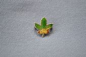 A Miniature Canadian Maple Leaf Pin - Enamel and Silver - More GREEN colour!